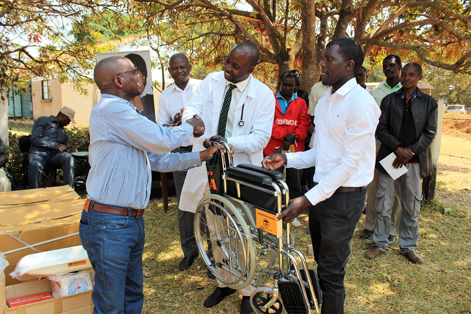 Regional Manager South Mr. Tapeya Walter Phiri hands over various items that included wheelchairs, suction machines, oxygen concentrators, thermometers, weighing scales and blankets to Mwinilunga and Zambezi District Hospitals